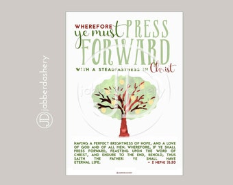 Press Forward Saints Tree Typography (4 sizes) 2016 LDS Mutual Theme Poster Binder Covers Mormon Art Scripture Nephi