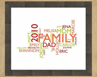 Word Cloud CUSTOMIZED Printable Typography up to 11x14