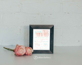 Press Forward Saints Three Colors 5x7 Typography 2016 LDS Mutual Theme Poster Binder Covers Mormon Art Subway