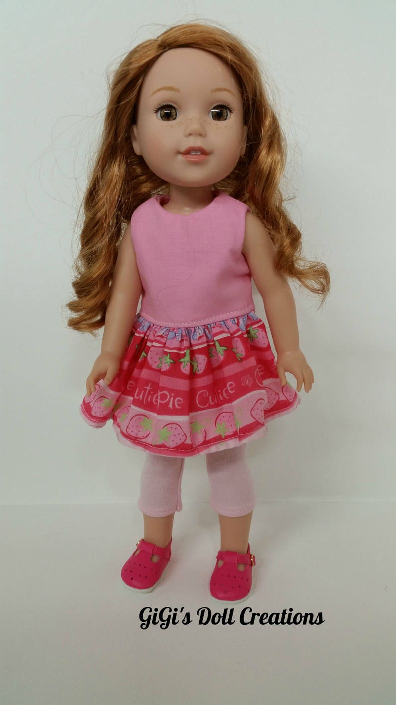 """Doll Clothes 18/"""" Pants Leggings Top Pink White Polka Dot Fits 18/"""" AG Dolls"""