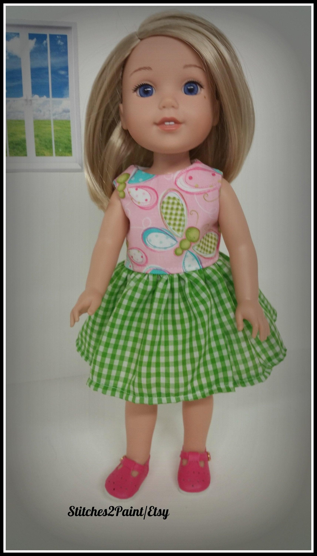 Green Polka Dot Rain Boots for Wellie Wisher Dolls