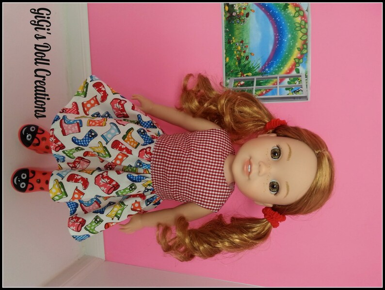 Purple Polka Dot Doll Dress ClothesMade Fit American Girl Wellie Wisher Dolls