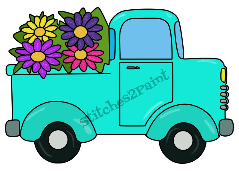 Vintage Truck With Flowers Door Hanger Template Svg File Wood Cutting Machine Template Diy Downloadable File Door Decor Laser