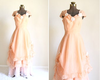 50s dress | 1950s peach gown | country wedding dress | off the shoulder maxi dress | pastel summer southern belle | lolita [ medium ]