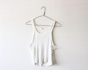 vintage A shirt - ribbed tank - mens 60s sleeveless undershirt - side boob cotton crop top - grunge tank top -  distressed - small medium