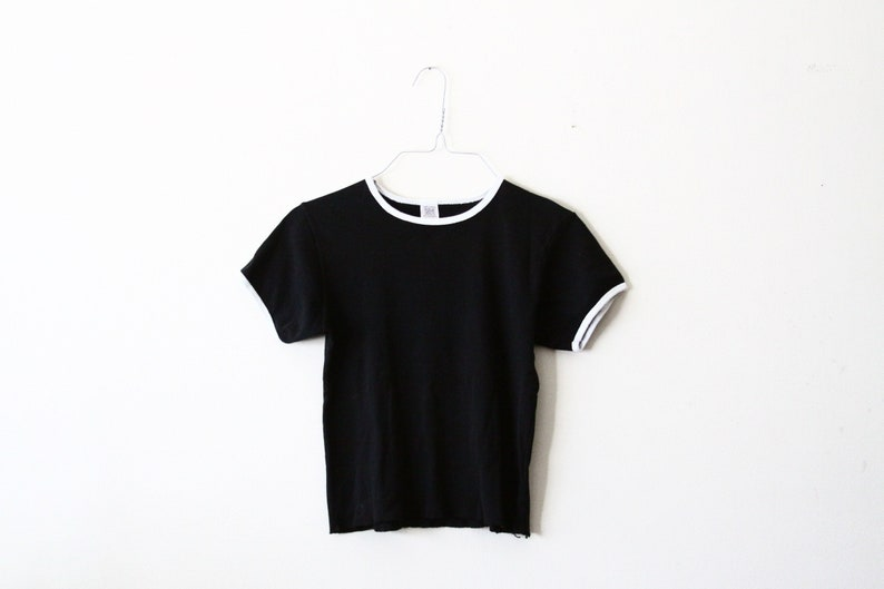 black and white cotton shirt crop top BLACK FRIDAY SALE vintage ringer tee