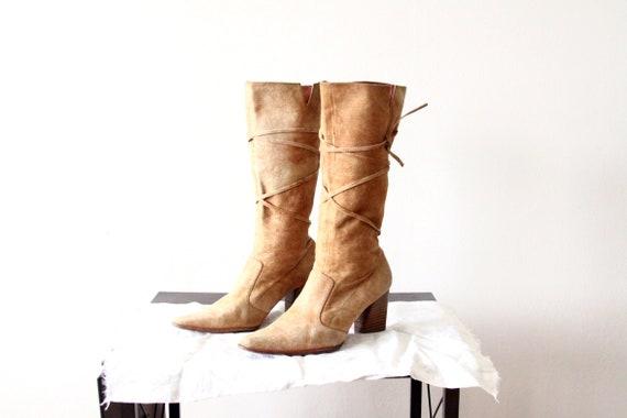 6 Mokassin Westlichen Hoch Cowgirl Stiefel Damen Schnüren Vintage Braun Größe Leder kPZiOXuT