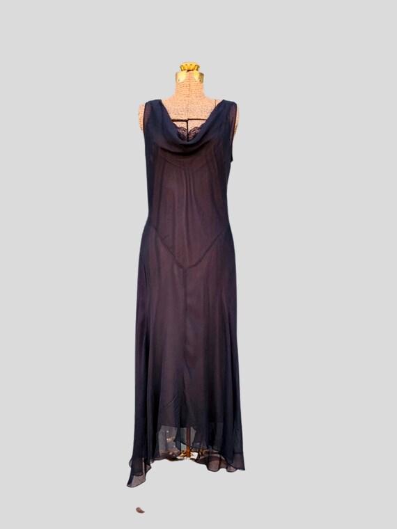 90s semi sheer black sleeveless silk maxi dress -