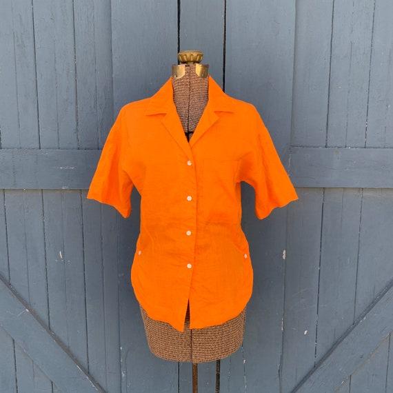 70s orange linen collared button up shirt - medium