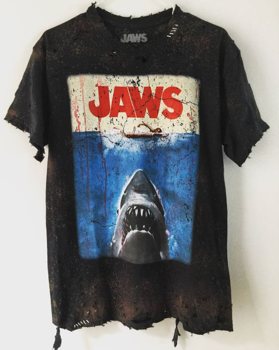 Jaws Attack Ripped Blood Stained T-shirt - XXS to 4XL