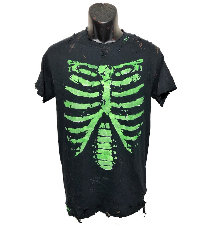 07ef1006 Skeleton Ribs distressed glow in the dark t shirt by Chad | Etsy