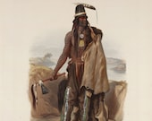 Karl Bodmer quot Addih Haddisch, a Mandan Chief quot (Travels in the Interior of North America, 1841) - Giclee Fine Art Print
