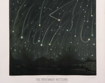 """Etienne Leopold Trouvelot : """"The November Meteors"""" (The Trouvelot Astronomical Drawings, 1882) - Giclee Fine Art Print"""
