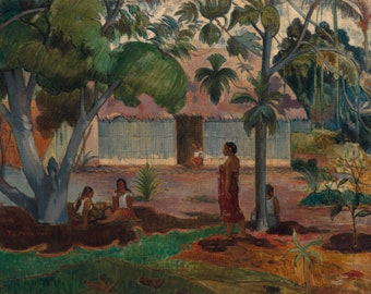 """1954 Vintage Full Color Art Plate /""""WHERE DO WE COME FROM/"""" DETAIL 2 GAUGUIN Litho"""