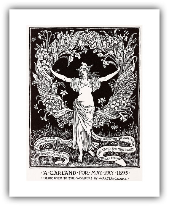 Walter Crane A Garland For May Day 1895 1895 Etsy