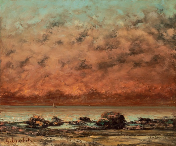 "— Fine Art Print 1865-1866 Gustave Courbet /""The Black Rocks at Trouville/"""