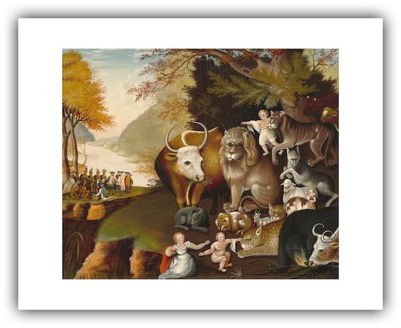 "Edward Hicks 1846 — Giclee Fine Art Print ; quaker art /""Noah/'s Ark/"""