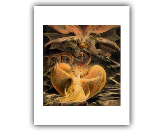 """William Blake /""""Red Dragon and the Woman Clothed in the Sun /"""" 24/"""" x 30/"""" Poster"""