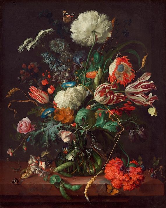 De Heem 1660 Art Canvas//Poster Print A3//A2//A1 Vase of Flowers