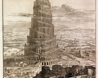 """Athanasius Kircher : """"The Tower of Babel"""" (1679) - Giclee Fine Art Print"""