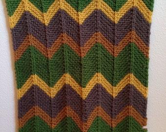 Handmade Chevron Knit Blanket, Zig-Zag Afghan, Baby Blanket, Lovey, Fall, Autumn Colors, Green Brown Yellow Honey