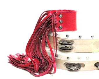 Leather fringe bracelet rocker chic leather jewelry runway