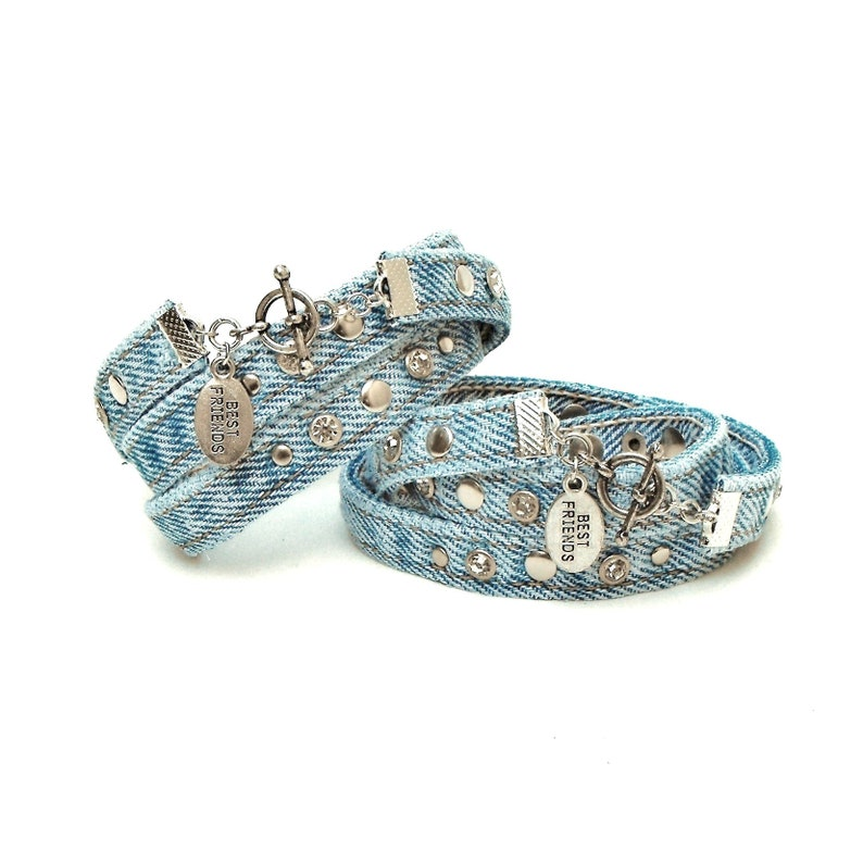 set of two friendship bracelets pair of recycled denim cuffs for up to 7.5 wrist BEST FRIENDS bracelets with rhinestones