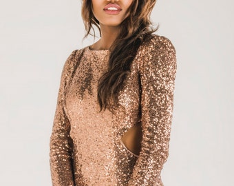 ROSE • Rose gold sequin bridesmaid dress, rose gold sequin prom dress, backless wedding dress, rose gold sequin backless reception dress