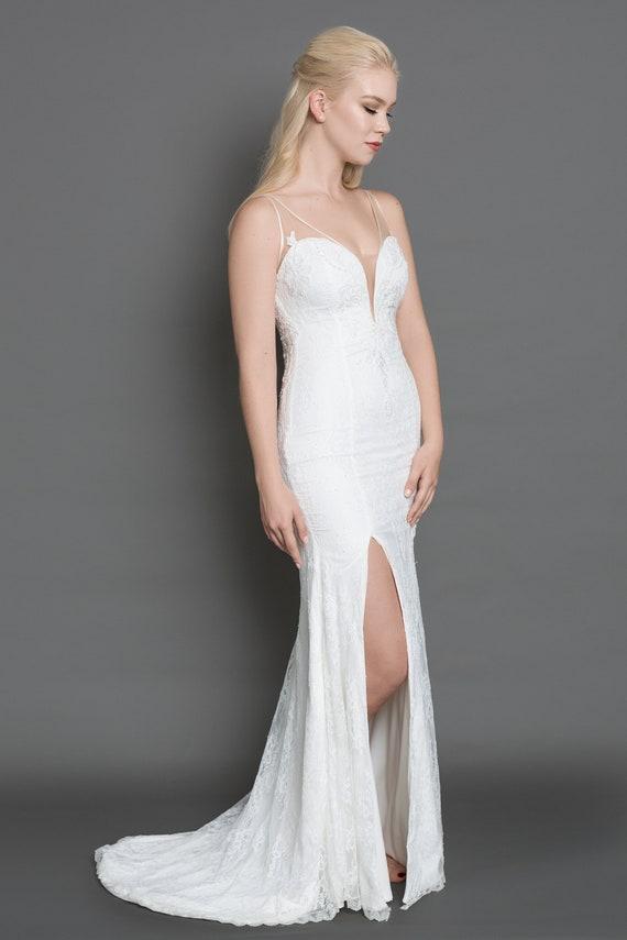 Kate Lace Wedding Dress Classic Weddingfit And Flare Etsy