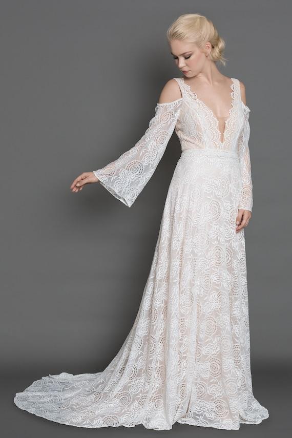 Long Sleeve Lace Wedding Dress Long Sleeve Simple Wedding Etsy
