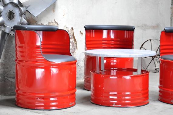 Fass Sitzgruppe aus 200 Liter Neu Fass Ölfass
