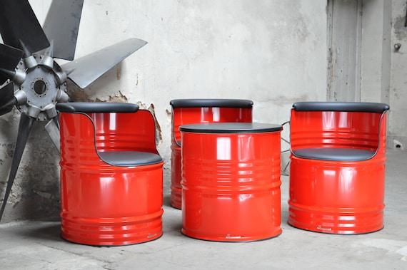 Fass Sitzgruppe aus 200 Liter Neu Fass Oelfass - Farbe nach Wahl