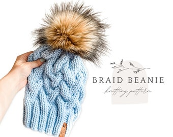 Braid Beanie knitting pattern // fitted hat // knit braid beanie // Aisling Studio instant download