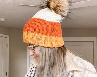 Candy Corn Knit Beanie, Slouchy Pompom Hat Holloween