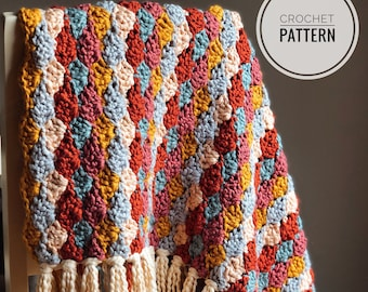 Tassel Baby Blanket crochet pattern // shell stitch // cotton baby blanket // instant download