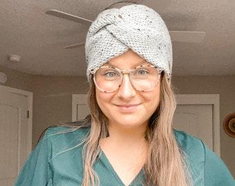 Knit Twisted Headwrap   Messy Bun Headband in Gray Tweed