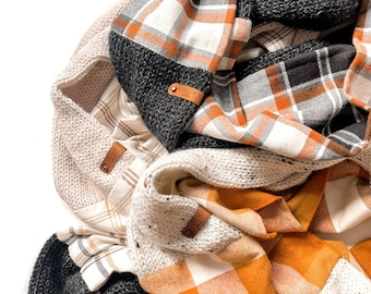 Flannel and Knit Infinity Scarf- Design Your Own