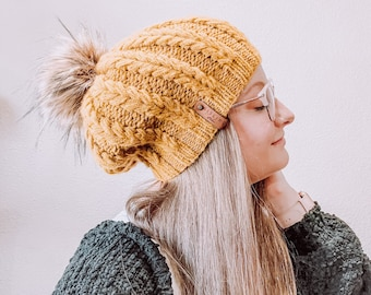 The Mira Beanie knitting pattern // slouchy hat // fishtail braid beanie // instant download