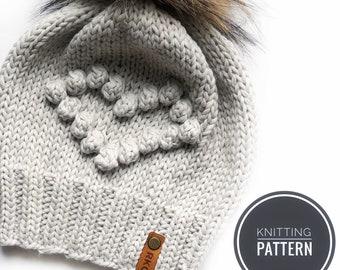 Heart Ewe Bobble Beanie knitting pattern // slouchy hat  // instant download