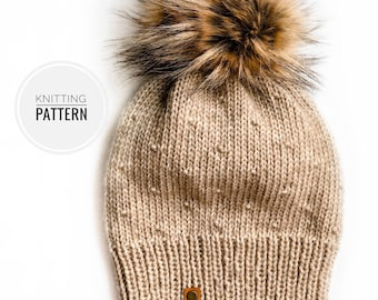 Beginner friendly knitting pattern, The Florence Beanie knitting pattern, instant download PDF