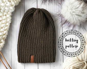 The Wren Beanie knitting pattern // easy beginner knit hat // slouchy toque // unisex // pdf instant download