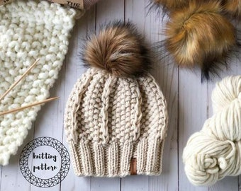 The Adaline Beanie knitting pattern // slouchy hat // textured hat pattern // instant download