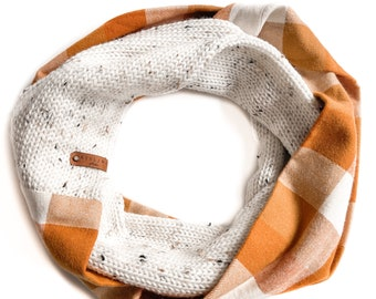 Flannel and Knit Infinity Scarf, Orange Plaid with Tweed Knitting