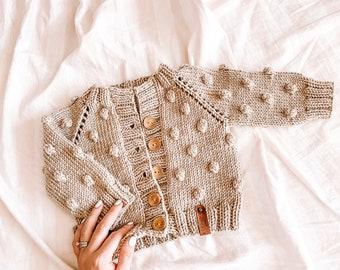 Baby Bobble Cardigan Sweater, Hand knit soft merino wool baby cardigan khaki