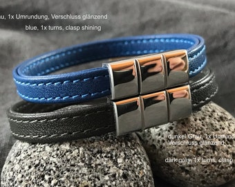 Womens leather wrap bracelet red black green grey blue orange stainless steel magnetic clasp  -  gift for her wife best friend girlfriend