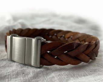 Men's braided leather bracelet brown silver stainless steel brushed  - gift for best friend couples boyfriend brother dad