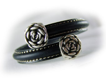 Women's leather bangle bracelet black silver -  flower rose - women's bracelet leather  - gift for her wife girlfriend sister