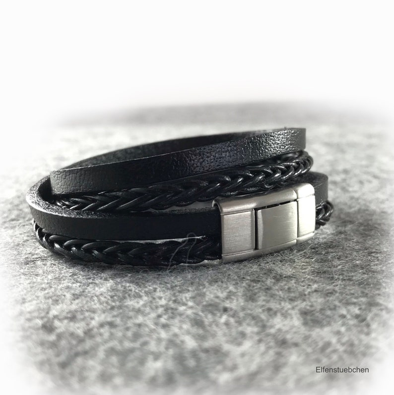 65877794f6d9c Men's Women's braided leather bracelet black silver brushed stainless steel  mens jewelry - gift for husband best friend boyfriend girlfriend