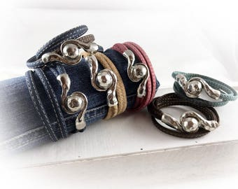Womens cork wrap bracelet vegan denim red blue brown nature turquoise silver - gift for her wife best friend girlfriend sister mother xmas