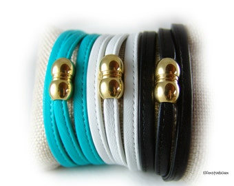 Wrap bracelet leather bracelet women stainless steel magnetic clasp silver or gold -  women's gift for her wife best freind girlfriend